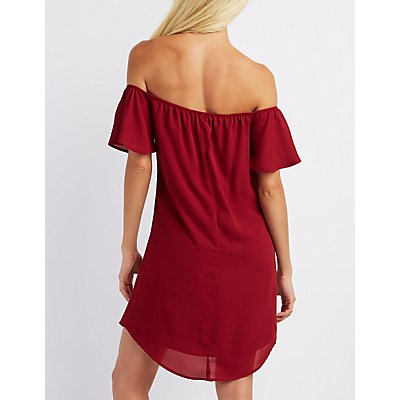 Off-The-Shoulder Notched Dress