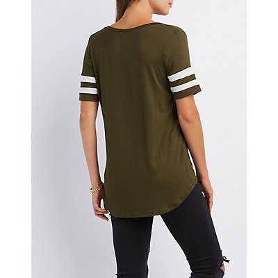 Split Neck Football Tee