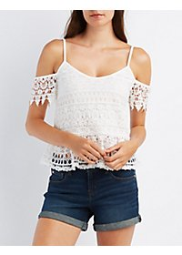 Crochet Lace Cold Shoulder Peplum Top
