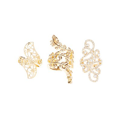 Rhinestone & Filigree Rings - 3 Pack