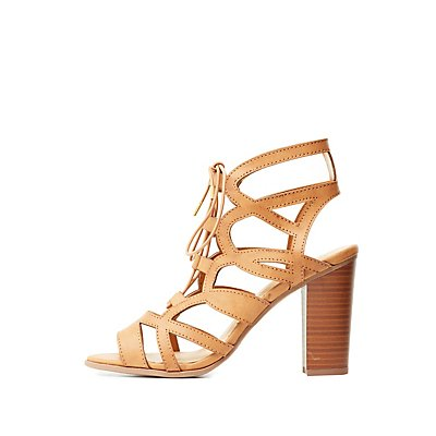 Caged Cut-Out Lace-Up Sandals