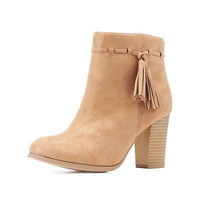 Tassel-Trim Ankle Booties