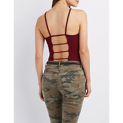 Bib Neck Caged Skimmer Tank Top