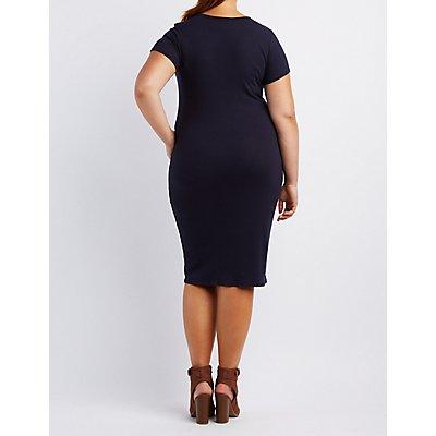 Plus Size Cut-Out Bodycon Midi Dress