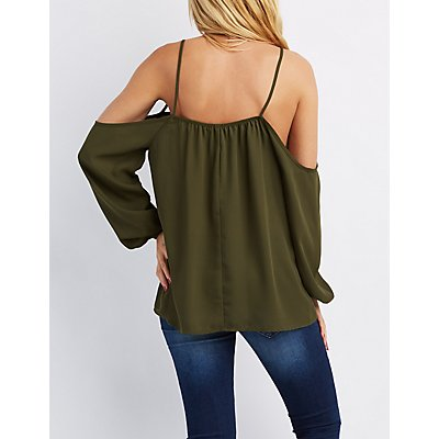 Caged Cold Shoulder Blouse