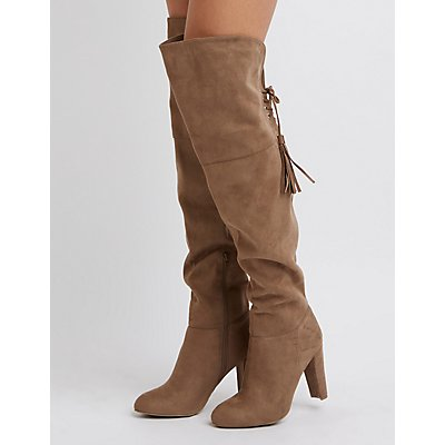 Tassel-Tie Over-The-Knee Heeled Boots