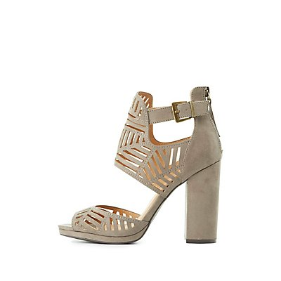 Laser Cut Block Heel Sandals