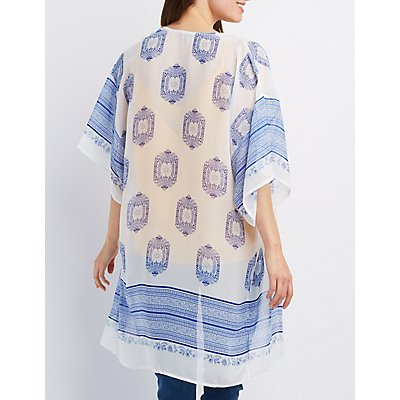 Printed Open Front Kimono