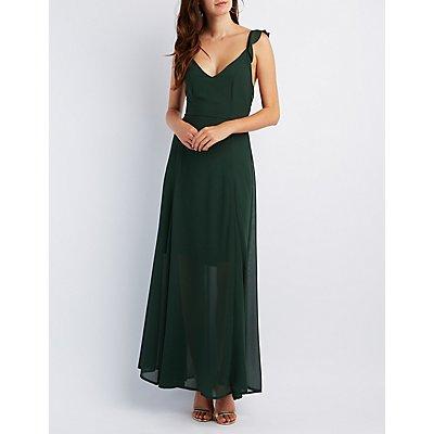 Ruffle Strap Chiffon Maxi Dress