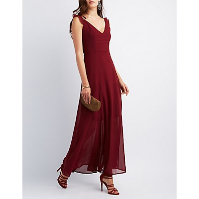 Ruffle Strap Chiffon Maxi Dress