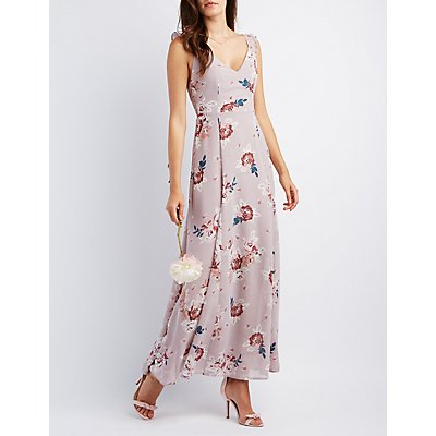 Floral Ruffle Strap Maxi Dress