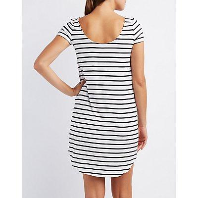 Striped Trapeze Shift Dress
