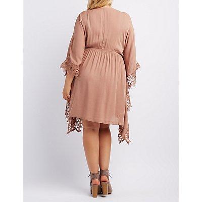 Plus Size Crochet-Trim Kaftan Dress