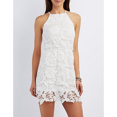 Crochet Bib Neck Bodycon Dress
