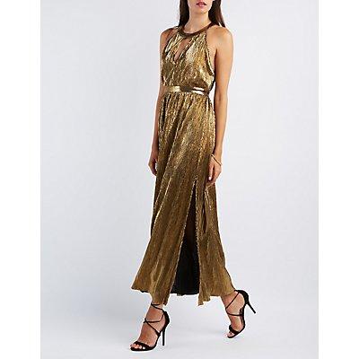 Metallic Ribbed Maxi Dress