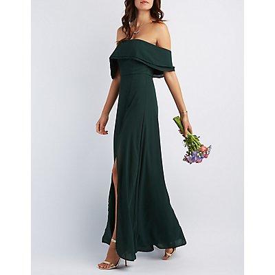 Off-the-Shoulder Front Slit Maxi Dress