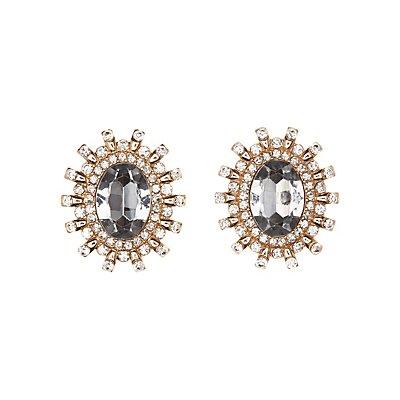 Gemstone Cluster Statement Earrings