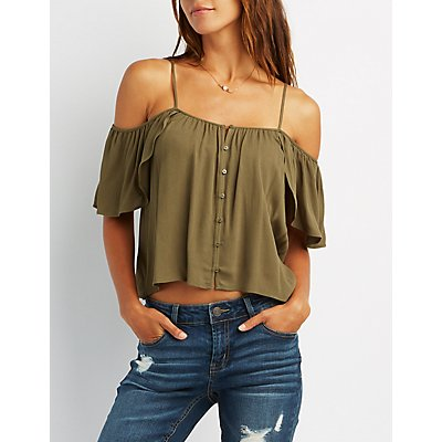 Cold Shoulder Button-Up Tank Top
