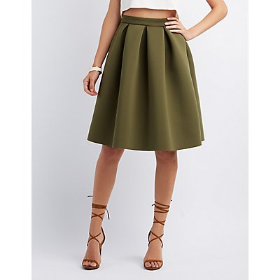 Pleated Full Midi Skirt | Charlotte Russe