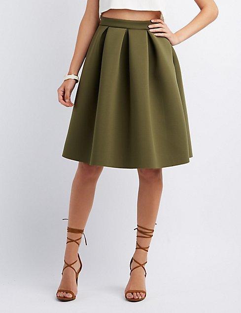 Pleated Full Midi Skirt | Charlotte Russe