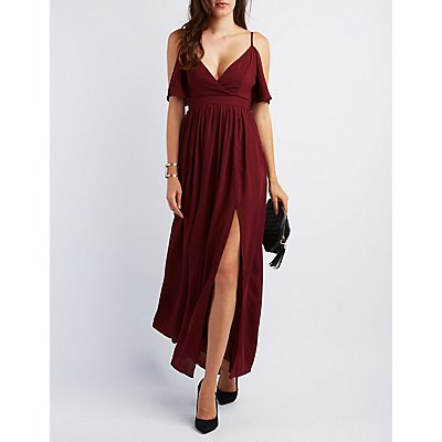 Flutter Sleeve Surplice Maxi Dress