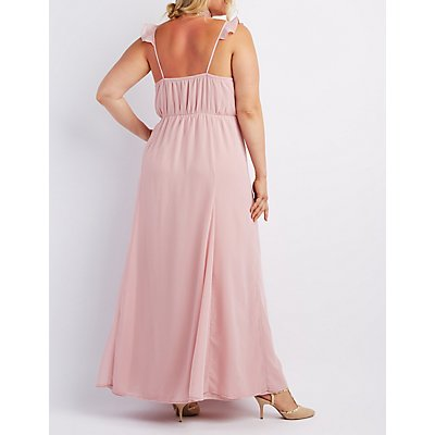 Plus Size Ruffle Strap Maxi Dress
