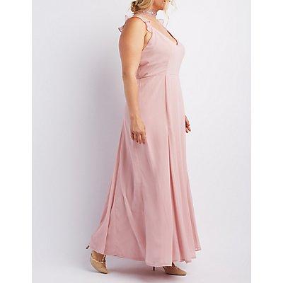 Plus Size Ruffle Strap Maxi Dress