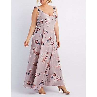 Plus Size Floral Ruffle Strap Maxi Dress
