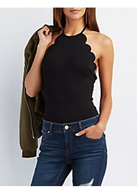 Scalloped Halter Bodysuit