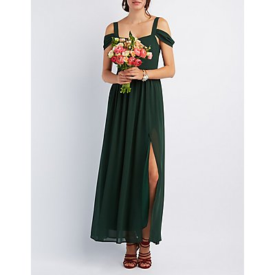 Cold Shoulder Sweetheart Maxi Dress