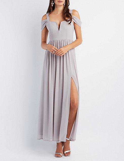 Cold Shoulder Sweetheart Maxi Dress | Charlotte Russe