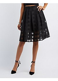 Checkered Chiffon Midi Skirt