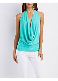 Plunging Cowl Halter Top