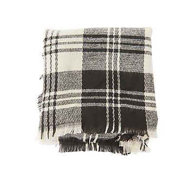 Fringed Plaid Blanket Scarf