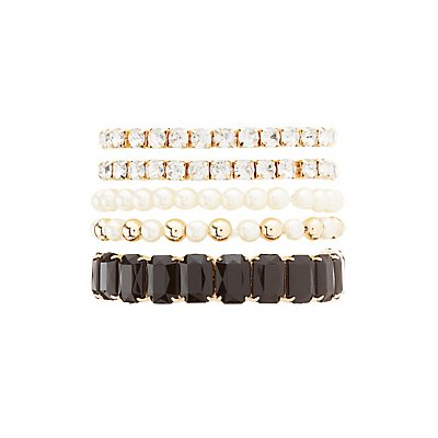 Gem, Rhinestone & Pearl Bead Stretch Bracelets - 5 Pack
