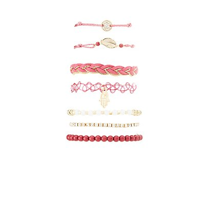 Braided, Embellished & Tattoo Bracelets - 7 Pack