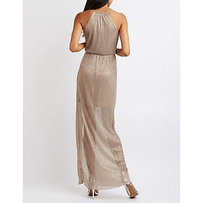 Metallic Ribbed Keyhole Maxi Dress