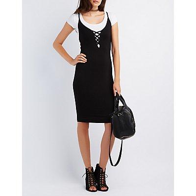 Lattice Bodycon Midi Dress
