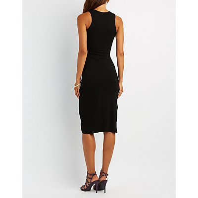 Ribbed Cut-Out Midi Dress