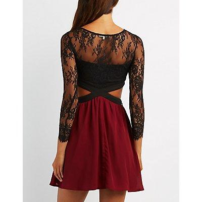 Lace Cut-Out Skater Dress