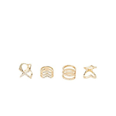 Embellished Caged Rings - 4 Pack