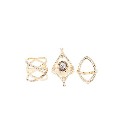 Gemstone & Rhinestone Rings - 3 Pack