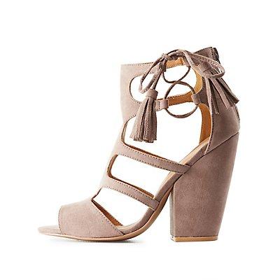 Qupid Caged Tassel-Tie Sandals