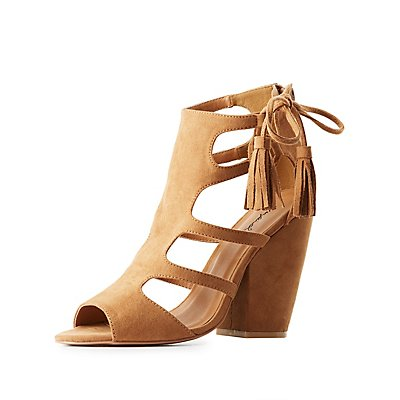 Qupid Caged Tassel-Tie Sandals