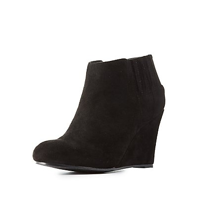 Faux Suede Wedge Ankle Booties