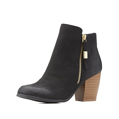Qupid Zipper-Trim Ankle Booties