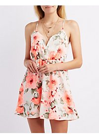 Floral Wired Notch Skater Dress