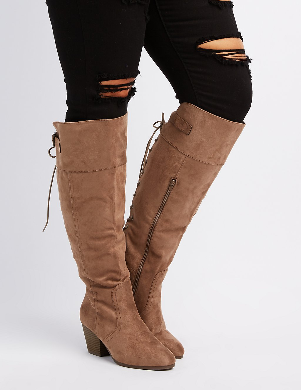 Wide Width Laced Knee-High Boots | Charlotte Russe