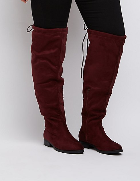 Wide Width Drawstring Over-The-Knee Boots | Charlotte Russe