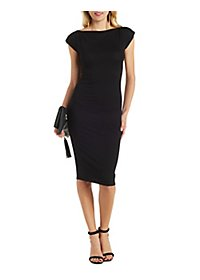 Zipper-Trim Bodycon Dress